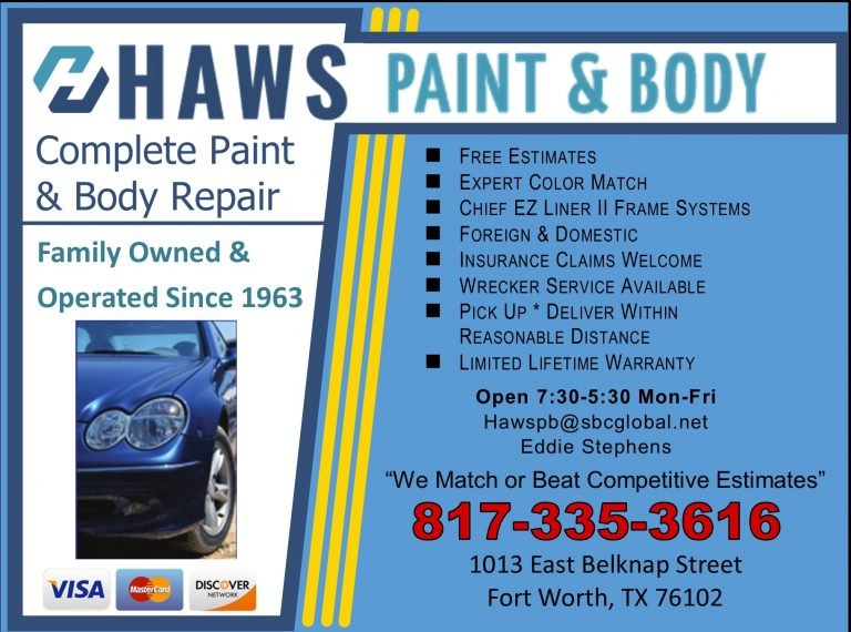 Haws Paint and Body Shop ad